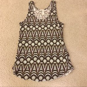 Batik Print Brown & White Pattern Tank Top